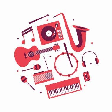 Music, vector flat illustration, icon set. Guitar, turntable, note, trumpet, headphones, drum, radio, maracas, piano, cassette tape