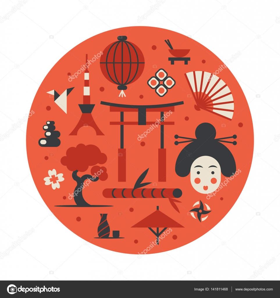 Japan Vector Flat Illustration Icon Set Landmark Background Bonsai Flower Stone Fun Woman Face Lantern Food Flag Sakura Weapon Gate Sushi Bamboo