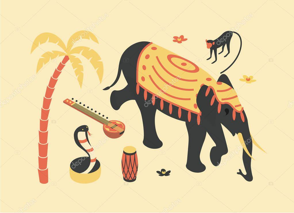 India, vector flat isometric illustration, 3d icon set: palm tree, sitar, monkey, elephant, lotus flower, snake cobra, drum