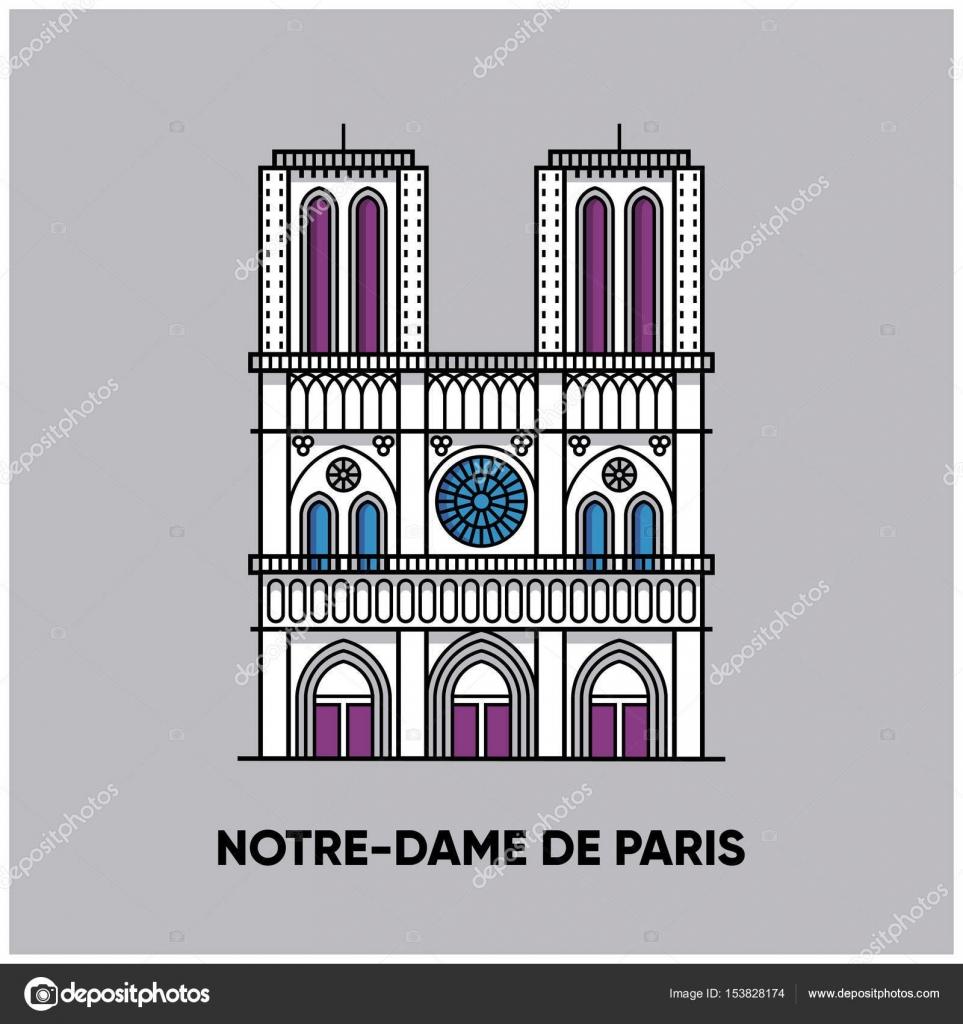 Notre Dame De Paris Disegno.Paris Notre Dame Building Icon Stock Vector C Smolyakov 153828174