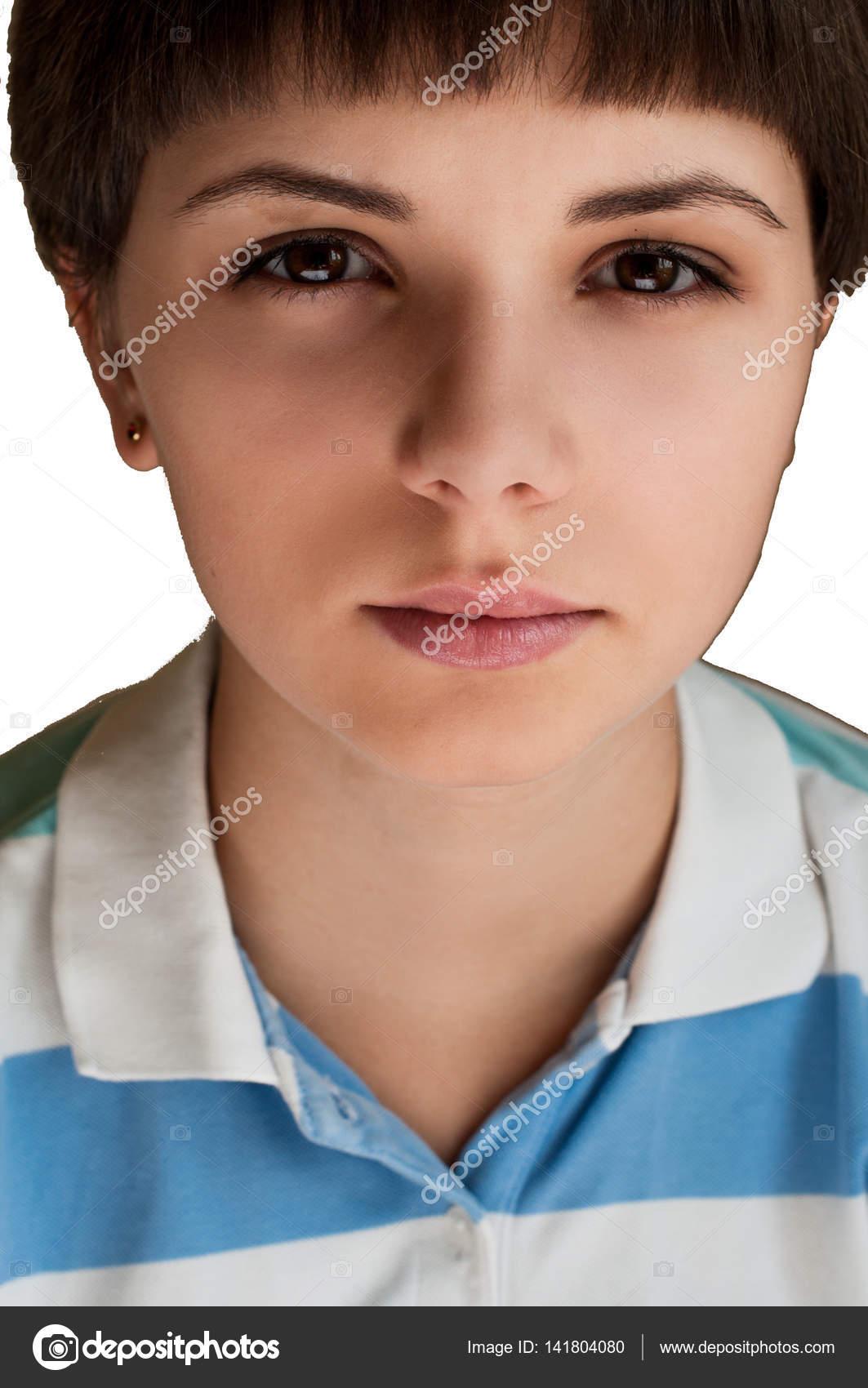 Młoda Kobieta Blisko Piękny Portret Twarz Krótkie Fryzury Kobieta