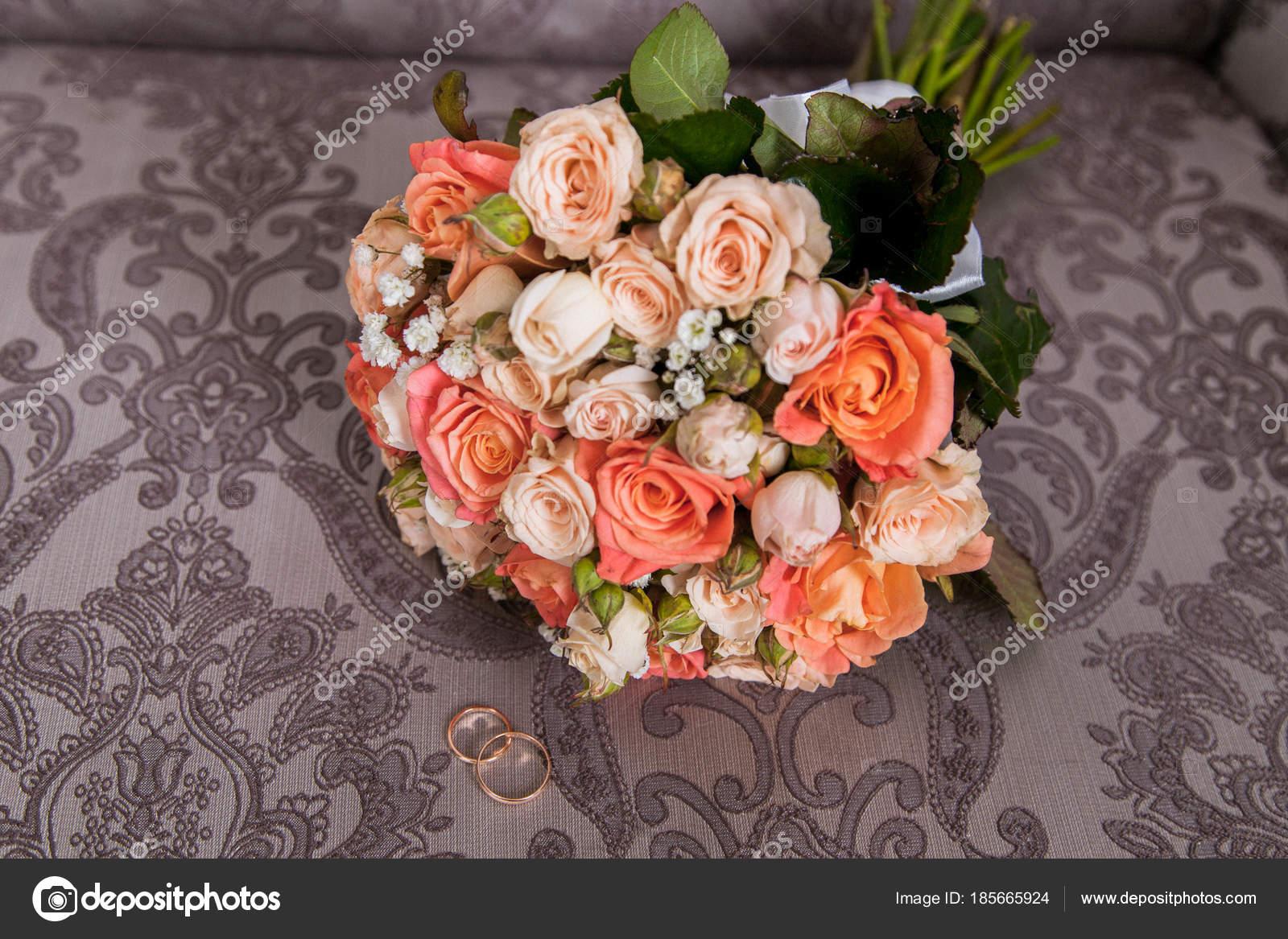 Wedding Bouquet Orange White Roses Stock Photo Kovychinua