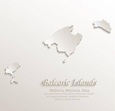Balearic Islands, Mallorca, Menorca, Ibiza map card paper 3D natural vector