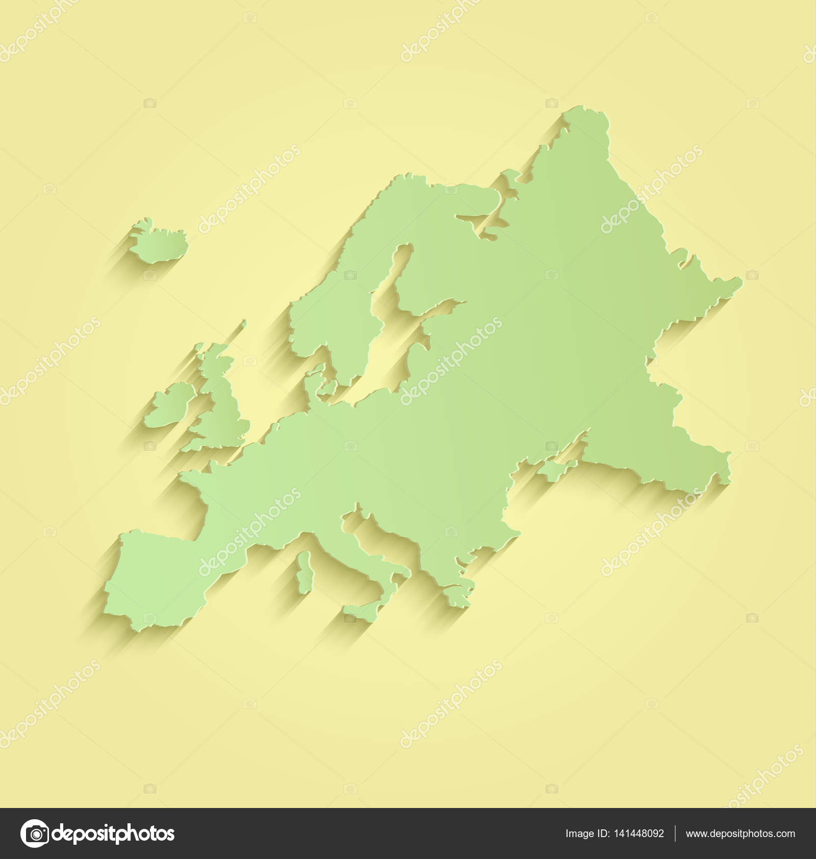 Europe Map Yellow Green Raster Blank Stock Photo Mondih - Blank world map green