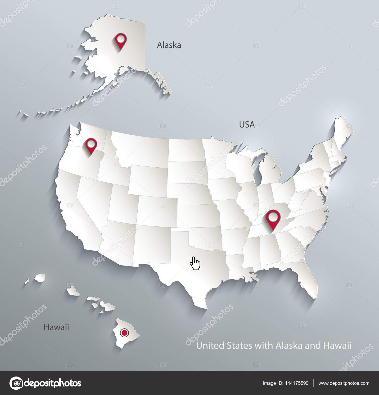 USA with Alaska and Hawaii map separate individual states 3D ...