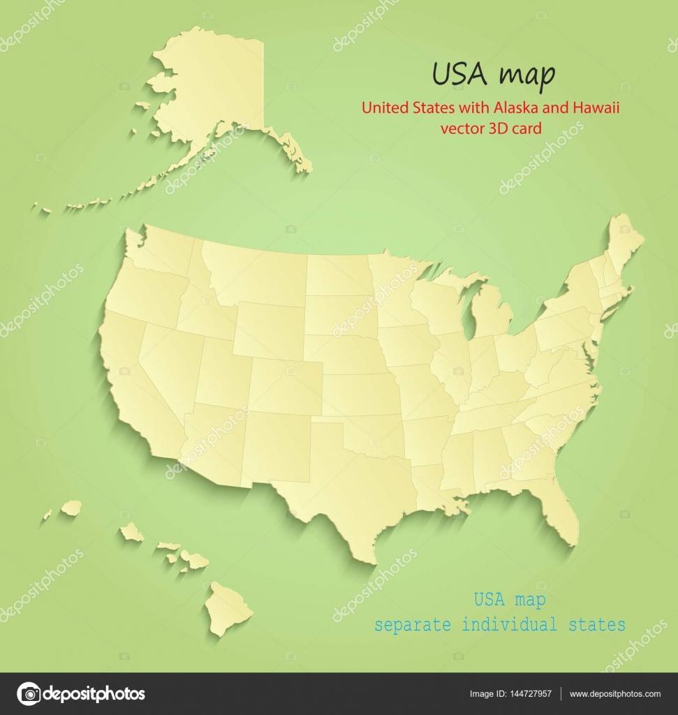 USA with Alaska and Hawaii map separate individual states green ...
