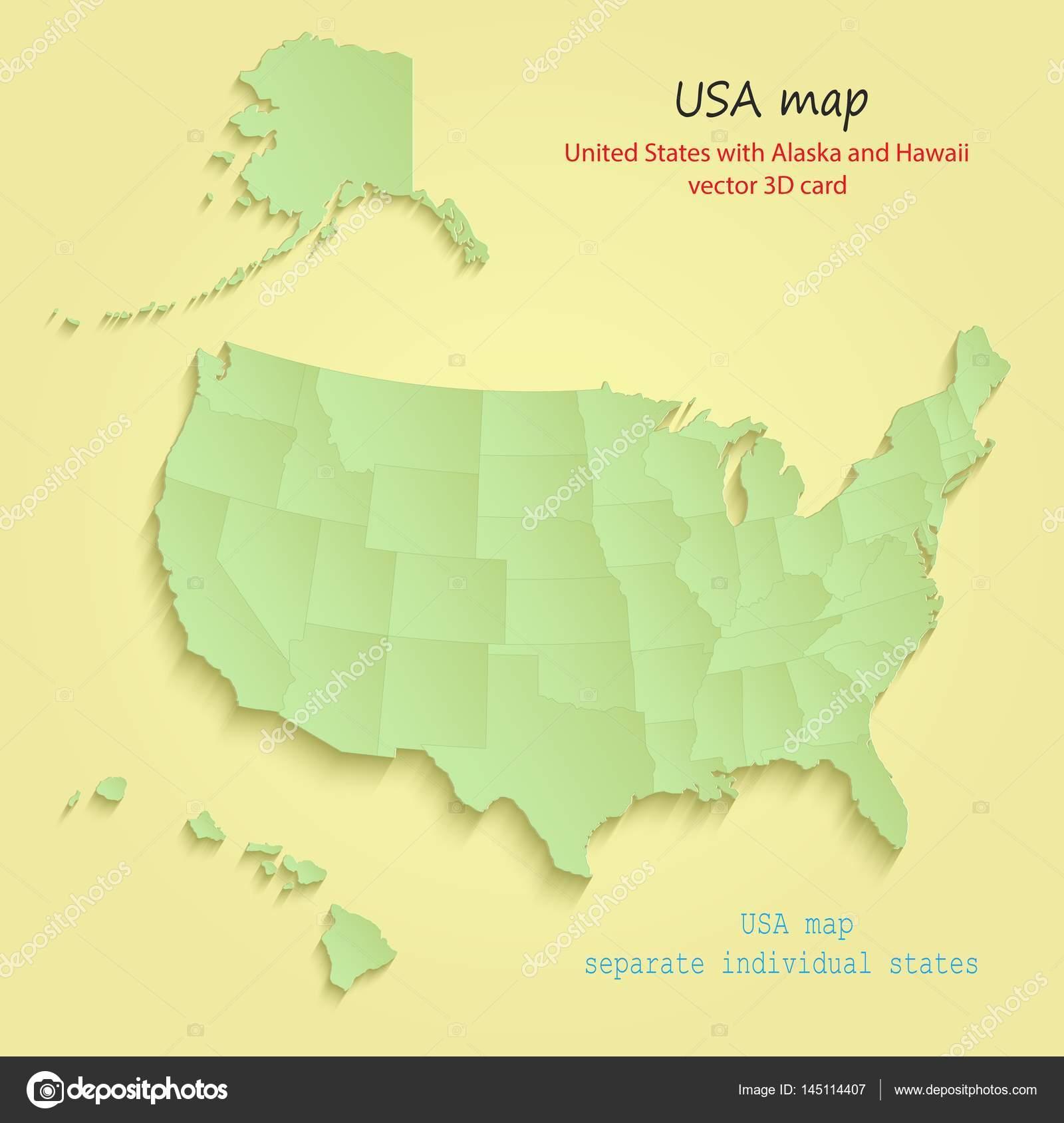 USA with Alaska and Hawaii map separate individual states yellow ...
