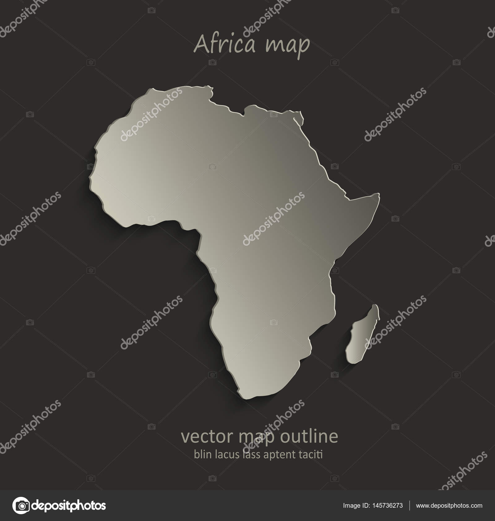 Africa Map Outline Card Blank Black Vector Stock Vector C Mondi H