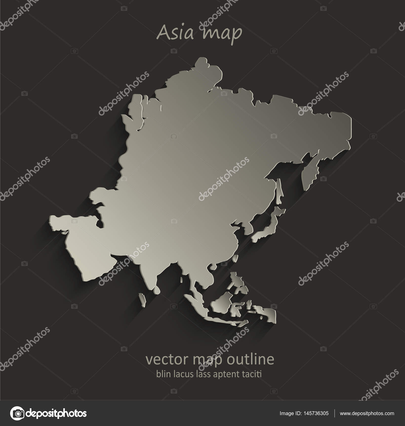 Asia map outline card blank black vector — Stock Vector © Mondi.h ...