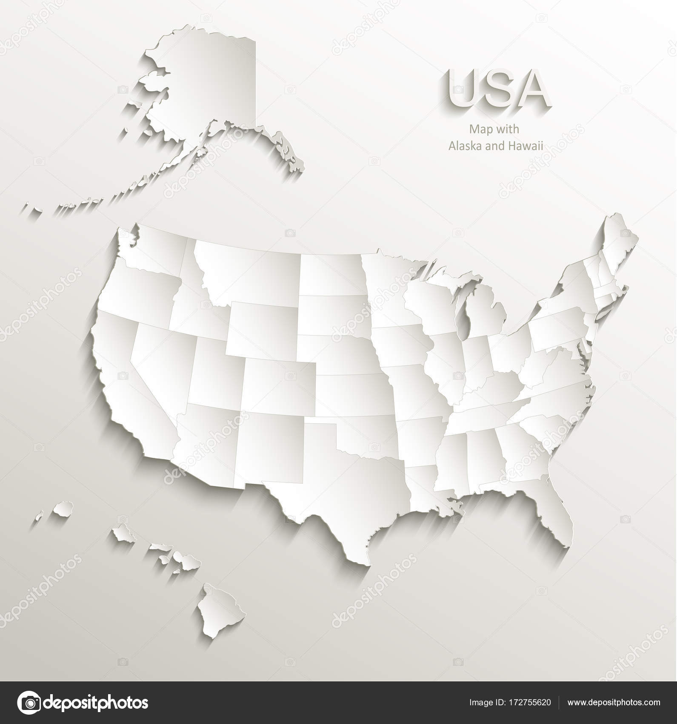 Karte der USA mit Alaska und Hawaii, separate Staaten einzelne Karte ...