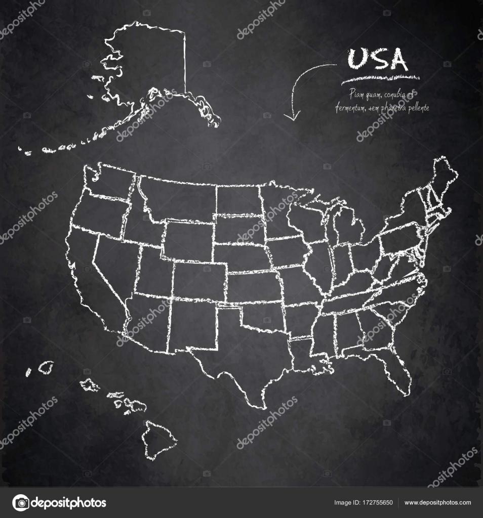 Usa Map With Alaska And Hawaii Separate States Individual