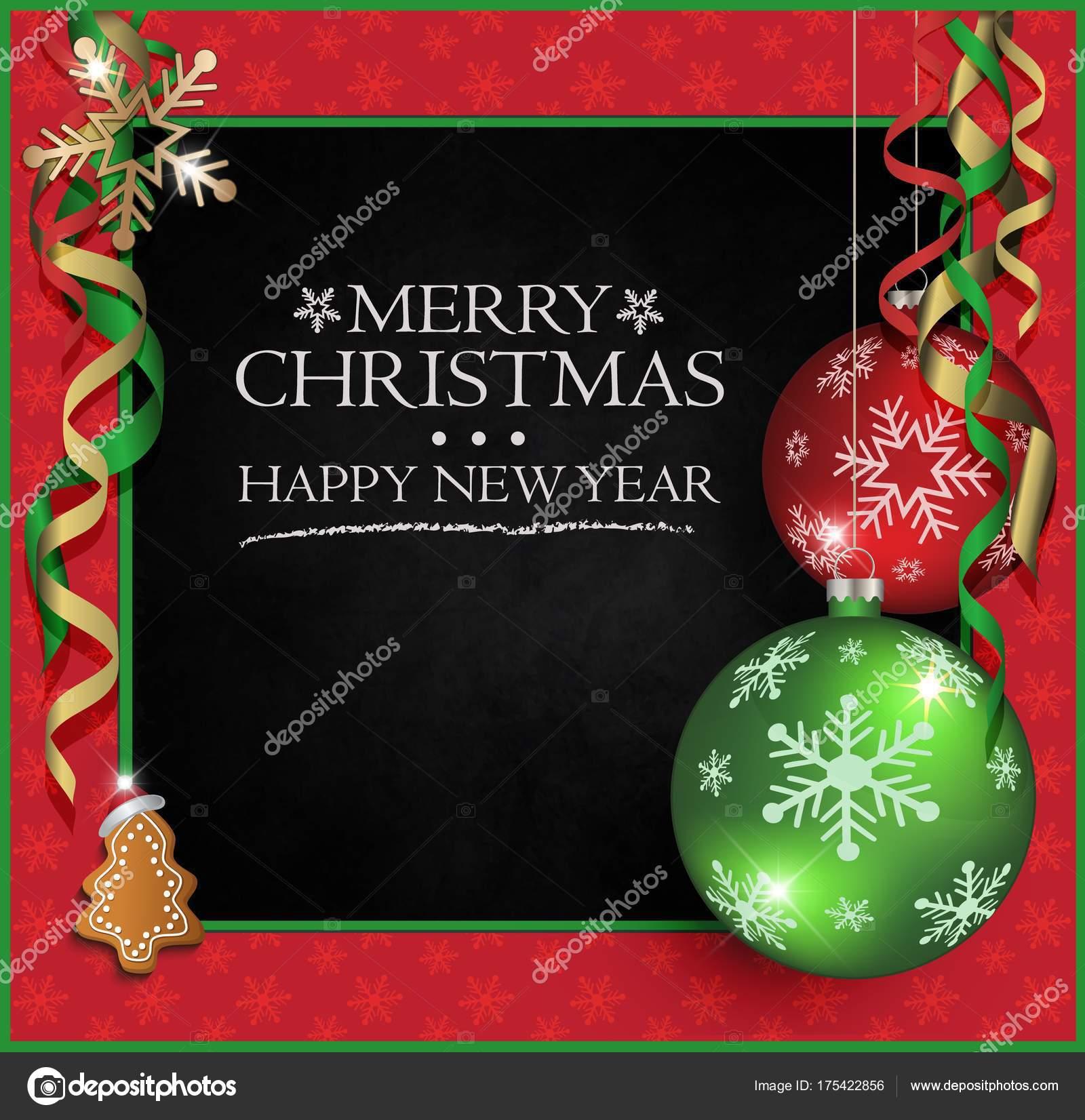 Frohe Weihnachten Gruß Karte Tafel Rahmen Raster Rot Grün ...