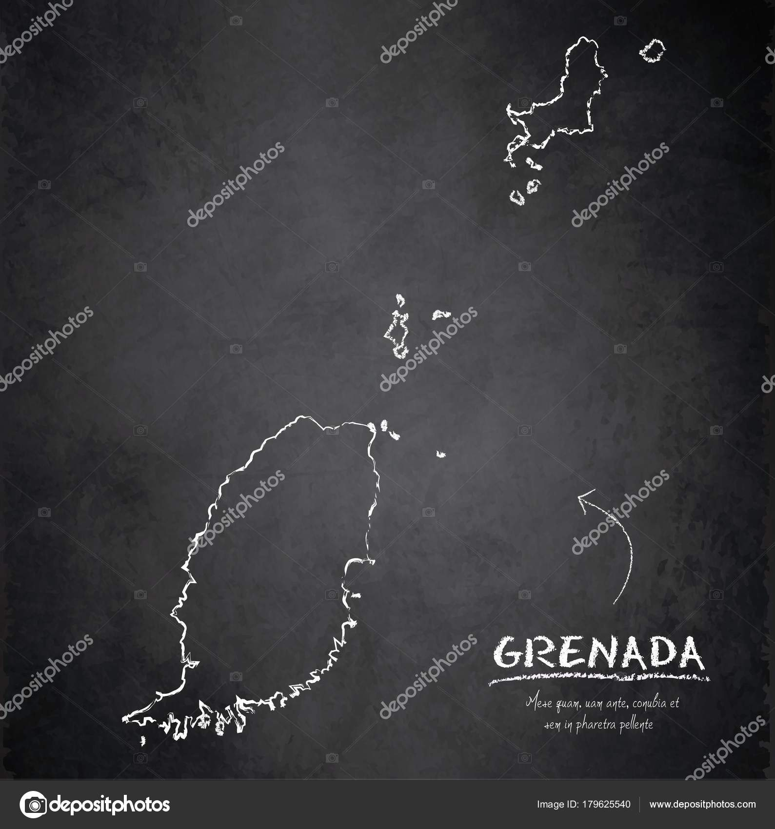 Grenada Map Blackboard Chalkboard Vector Stock Vector Mondih - Grenada map download