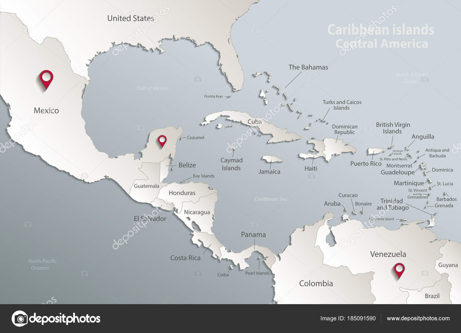 Caribbean Islands Central America Map State Names Separate States