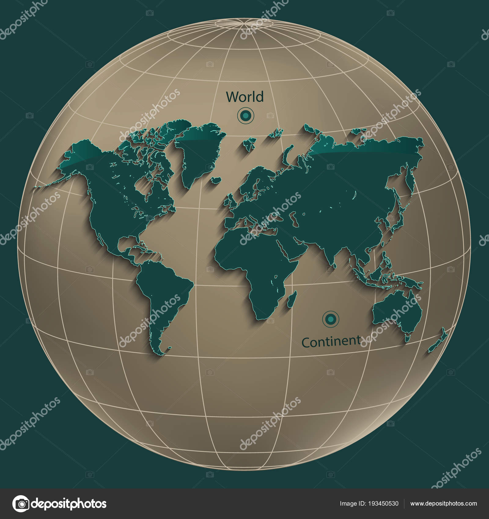 Karte Erde.Welt Karte Erde Gold Globe Erdöl Farbe Hintergrund Vektor