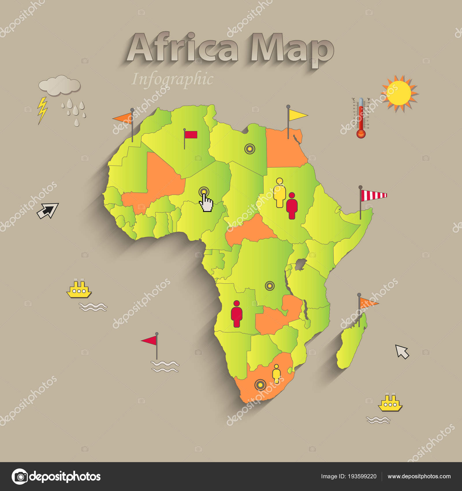 Afrika Karte Staaten.Afrika Karte Separate Staaten Infografiken Politische Karte Einzelne
