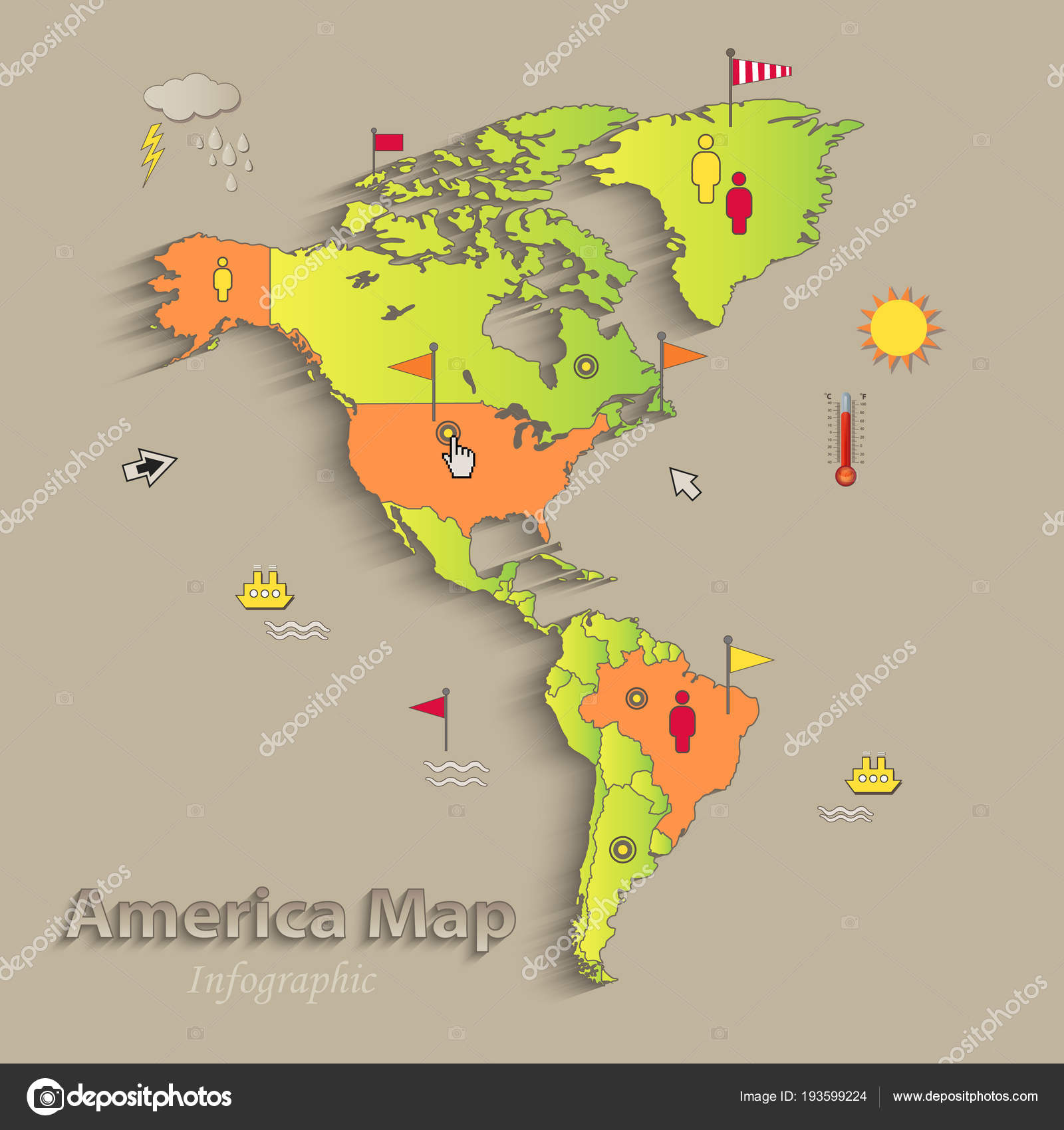 Image of: America Map Separate States Infographics Political Map Individual States Vector Stock Vector C Mondi H 193599224