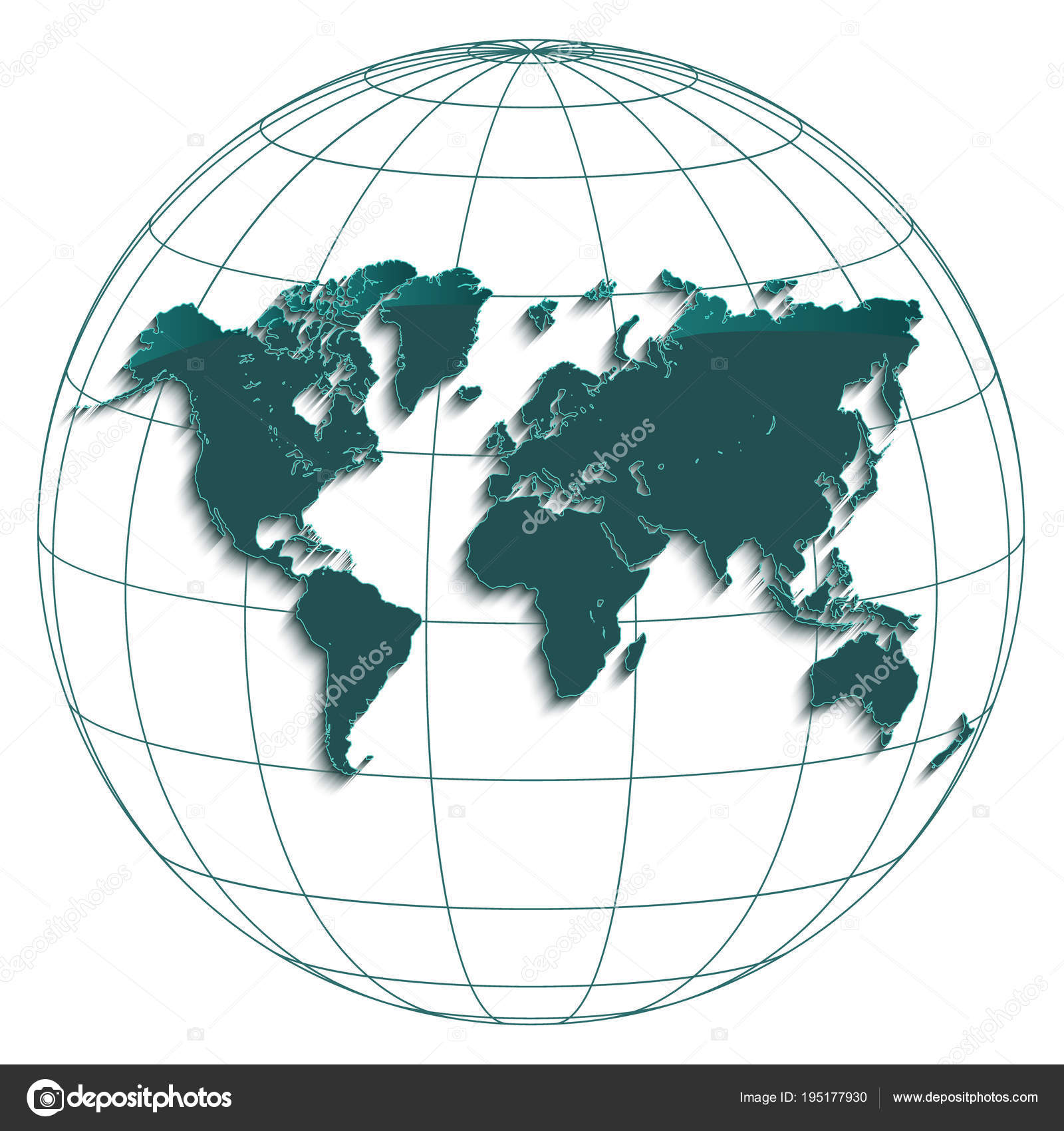 Geographic Map Of Earth.World Map Globe Earth Globus Geographic Coordinates White Background