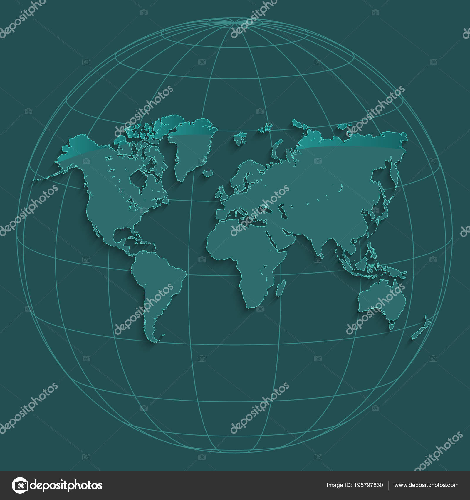 World map globus geographic coordinates globe petroleum color vector world map globus geographic coordinates globe petroleum color vector stock vector gumiabroncs Gallery