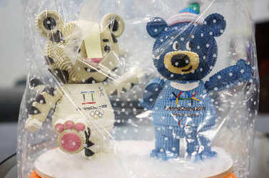 December 22, 2017 Moscow, Russia Official Mascots XXIII Winter Olympic Games and XII Winter Paralympic Games in Pyeongchang City, Republic of Korea white tiger Soohorang and Asiatic black bear Bandabi