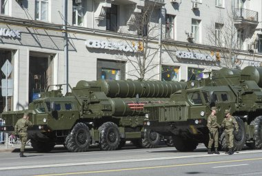 MOSCOW, RUSSIA - May 07, 2017 Anti-aircraft missile system S-400 Triumf (SA-21 Growler) during the rehearsal of the military parade for victory day on Tverskaya street in Moscow