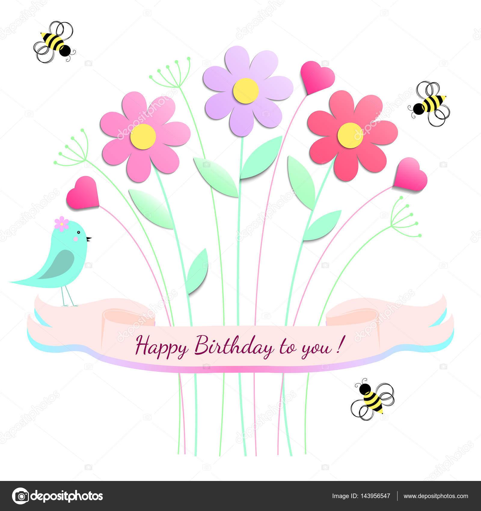 Happy birthday greeting card design with flowers bird and bee happy birthday greeting card design with flowers bird and bee vector illustration stock izmirmasajfo