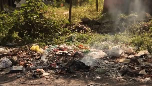 Garbage dump at landfill