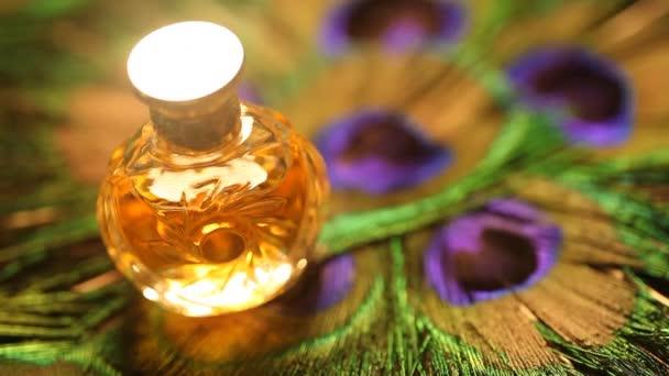 Perfume bottle with golden cap