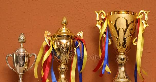 Győztes díjat az asztalon