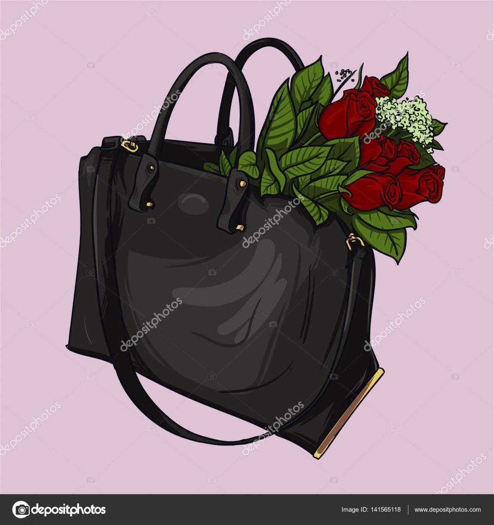 787ad4dfa Ilustração de moda: mão desenhada rosa bege bolsa com rosas de flores  vermelhas em fundo