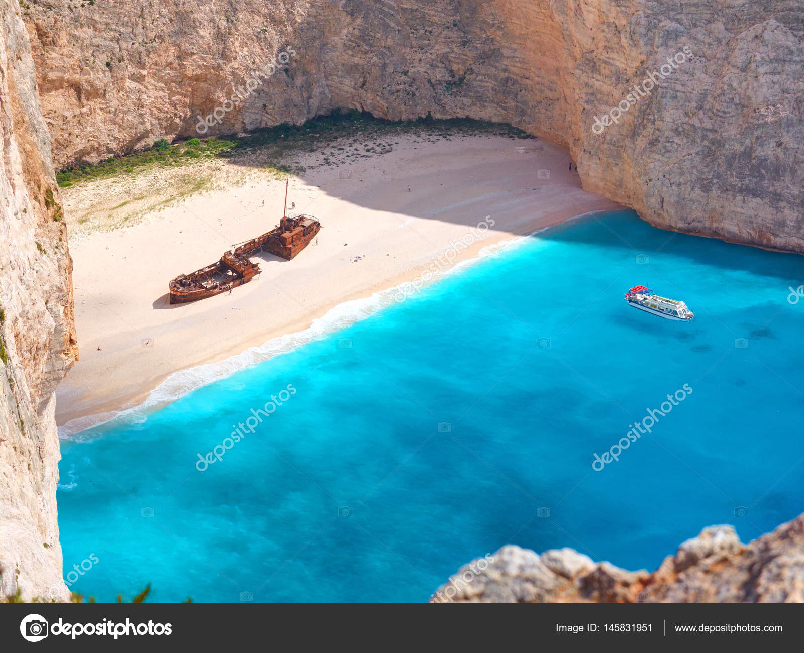 View On Shipwreck Beach In Amazing Bay Boat Ship With Swimming