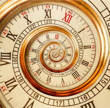 """Картина, постер, плакат, фотообои """"старинные часы абстрактная фрактальная спираль. часовой механизм необычный абстрактный текстурный фрактальный фон. золотые старые часы с римскими и арабскими цифрами. спираль эффекта дроста """", артикул 148872997"""