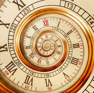 """Картина, постер, плакат, фотообои """"старинные часы абстрактная фрактальная спираль. часовой механизм необычный абстрактный текстурный фрактальный фон. золотые старые часы с римскими и арабскими цифрами. спираль эффекта дроста """", артикул 148873005"""
