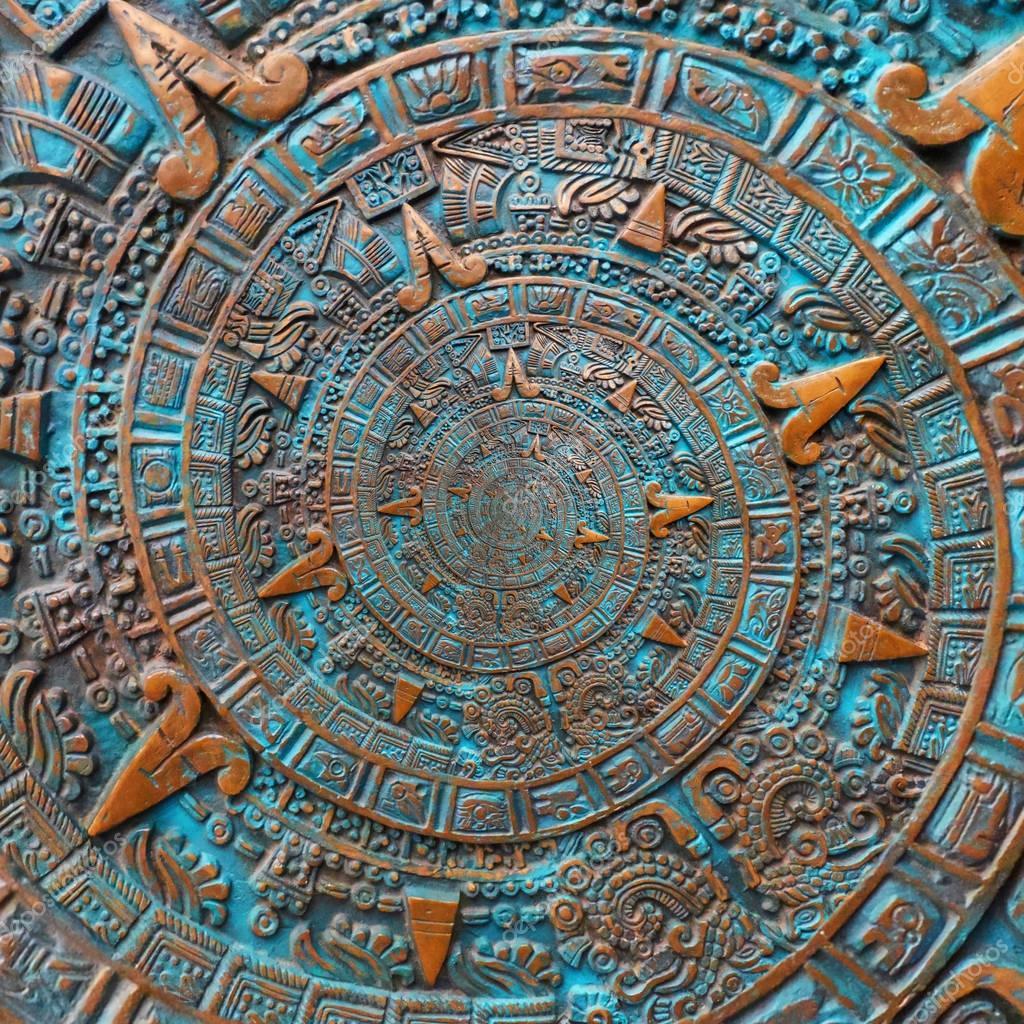 fondo calendario azteca pantalla bronce antigua