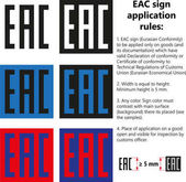Fotografie Vector isolated EAC sign mark (Eurasian Conformity) symbol logo icon, Rules for application on goods products with Declaration, Certificate of conformity to Technical regulations of Customs Union Eurasian Economic Union EAC