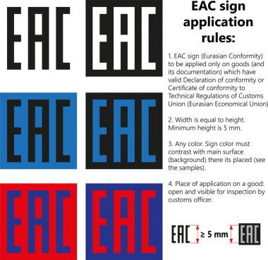Vector isolated EAC sign mark (Eurasian Conformity) symbol logo icon, Rules for application on goods products with Declaration, Certificate of conformity to Technical regulations of Customs Union Eurasian Economic Union EAC icon