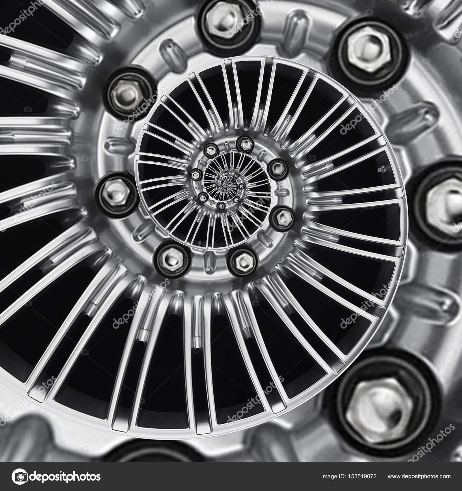 Coche rueda de automóvil borde espiral fractal metálico abstracto ...