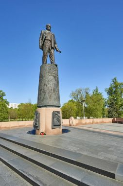 MOSCOW, MAY 18, 2017: Monument of Soviet and Russian space industry founding father Korolev on Alley of Cosmonauts next to Space museum. Famous space museums, sighseeing for tourists