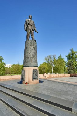 MOSCOW, MAY 18, 2017: Monument of Soviet and Russian space industry founding father Korolev on Alley of Cosmonauts next to Space museum.Space museums, sighseeing for tourists. Space industry engineers