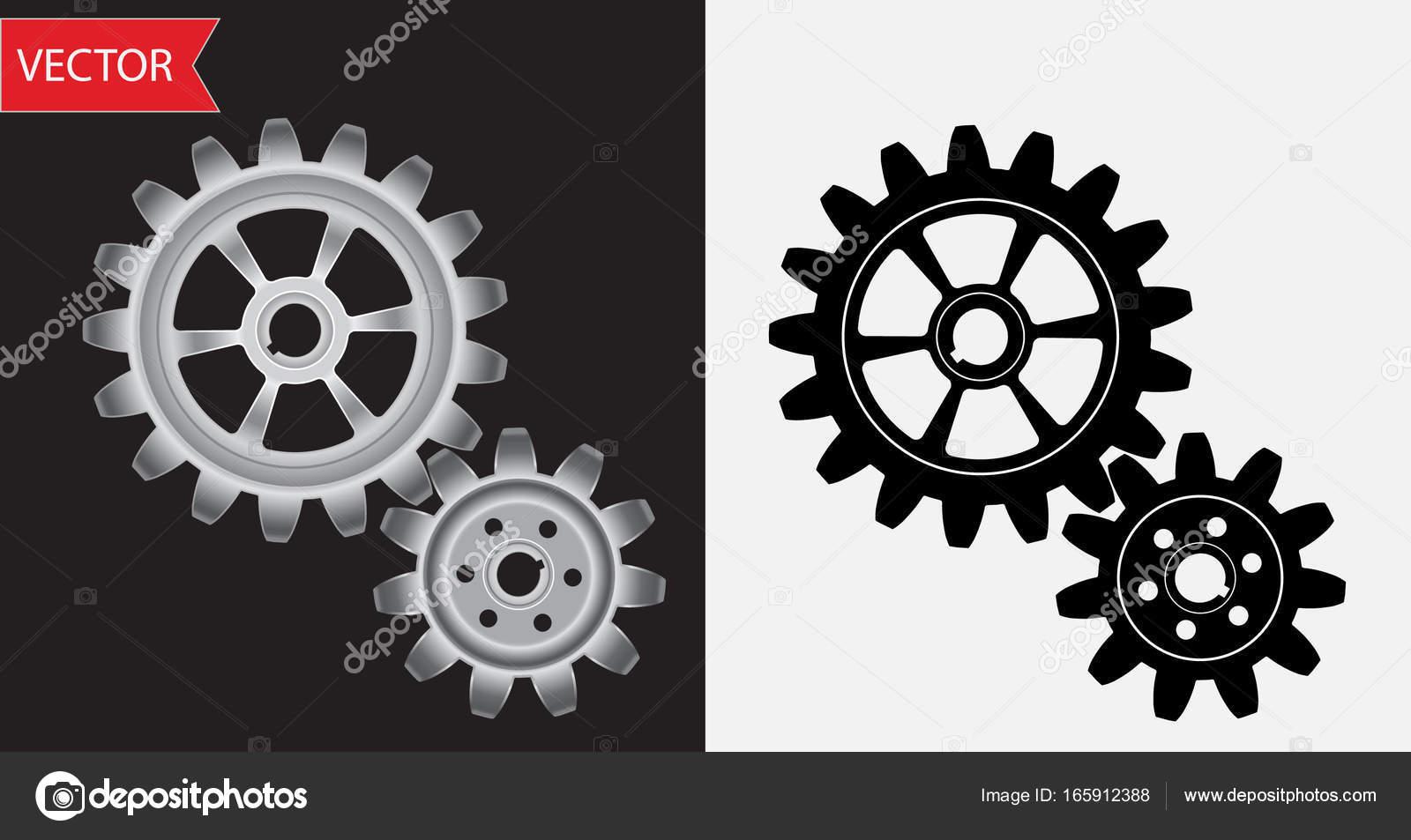 Engranajes De Vector De Colores Plata Y Negros Metálicos