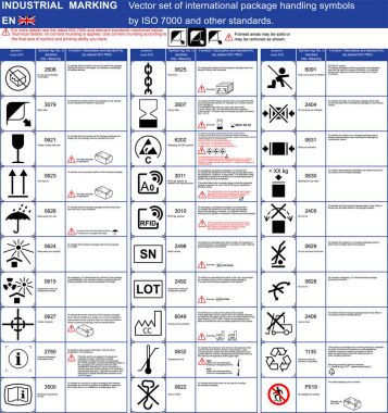 Industrial package marking Vector set of official ISO 7000 package handling icons symbols Package symbols icons application rules with illustrations examples. Packaging icons symbols set Cargo marking. ISO 7000 package vector symbols set for boxes
