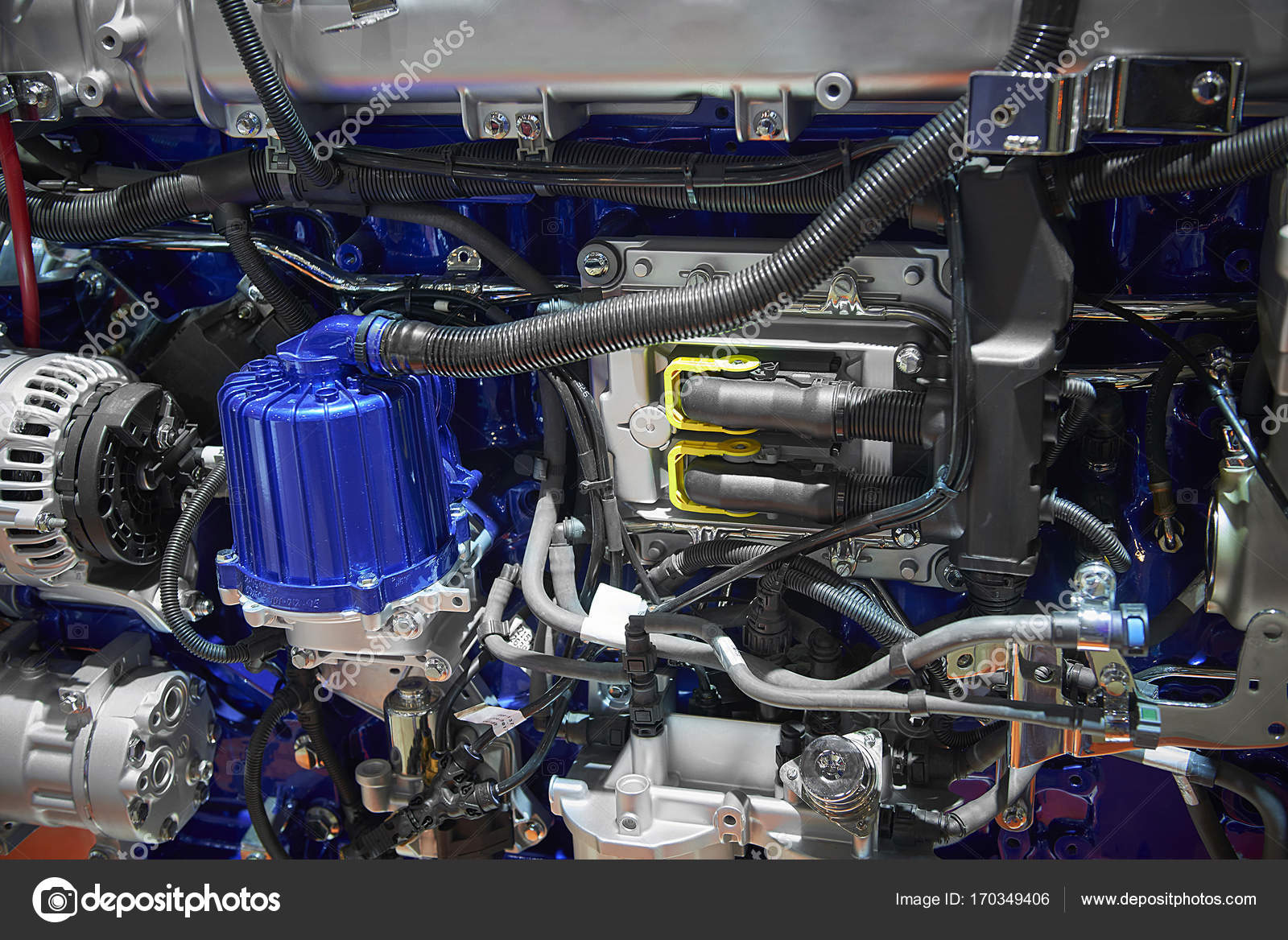 Close up new truck diesel engine motor with different parts details ...