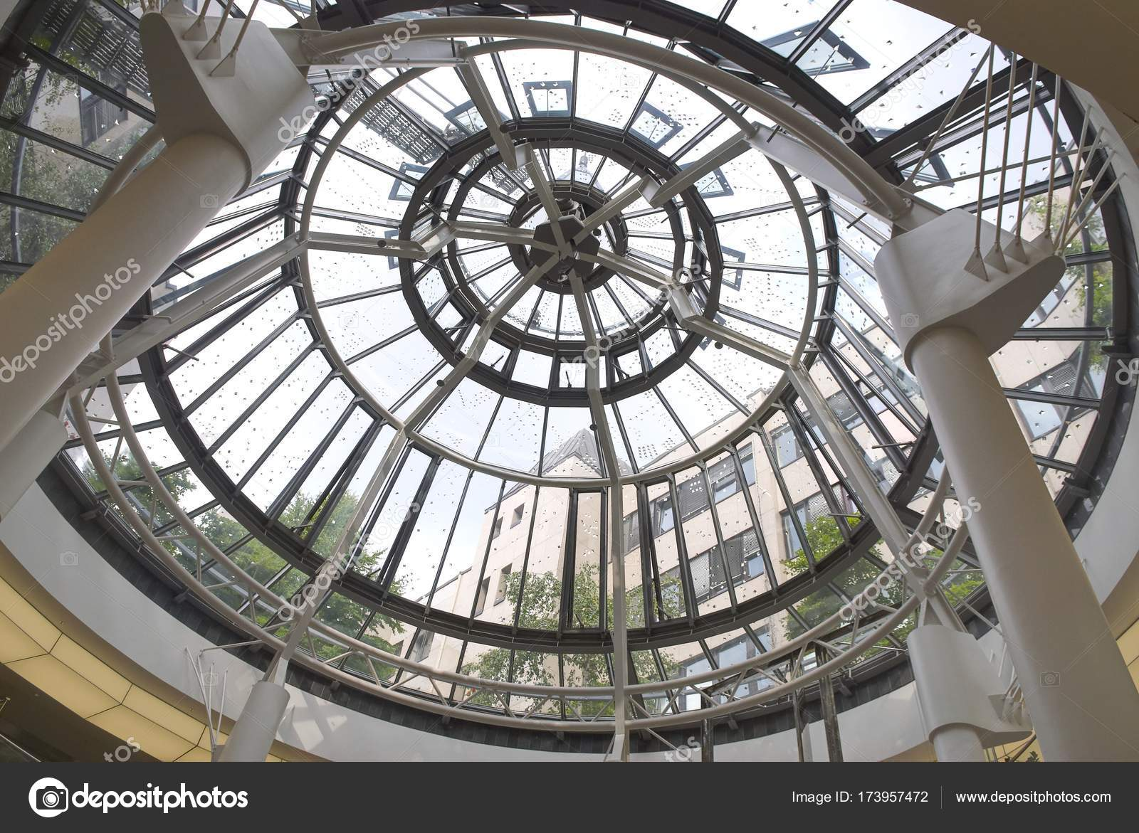 Modern round metal and glass dome cupola. Abstract architecture ...