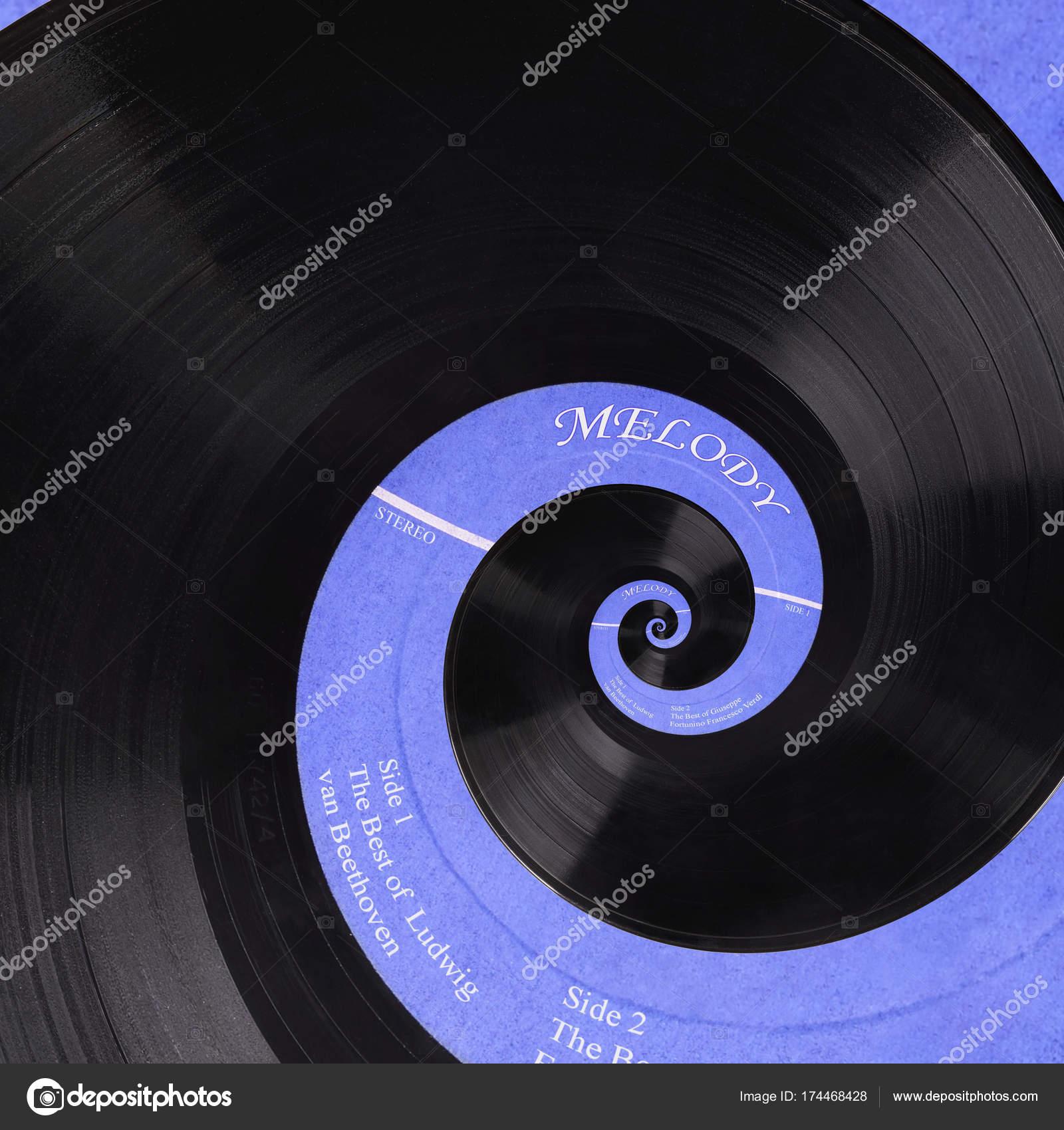 Abstract music vinyl disc spiral fractal background  Retro