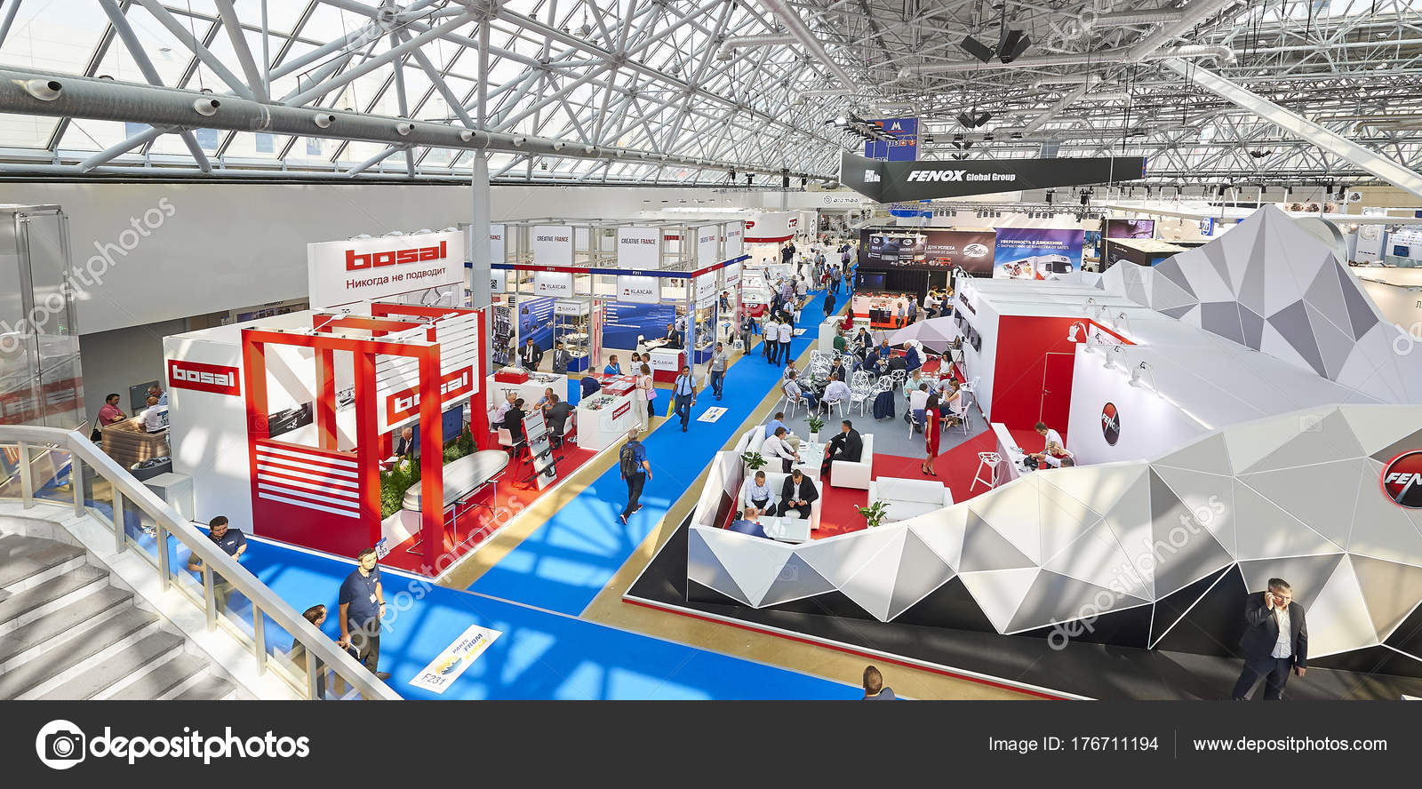 Moscow Aug 2017 View Exhibition Stands Car Parts Components Details ...