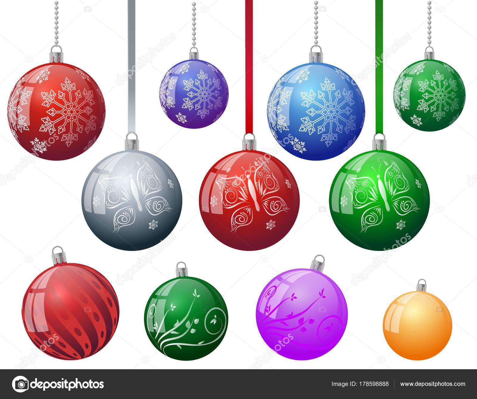 Colorful Christmas Tree Vector.Set Colorful Christmas Tree Vector Ornament Balls Snowflake