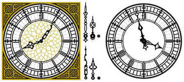 Vector antique old clock with square golden ornament roman baroque style dial numerals and clock hands. Set of antique clock hands. Vector set of tower Big Ben clock gothic style Vintage vector watch. Similar to Big Ben London clock