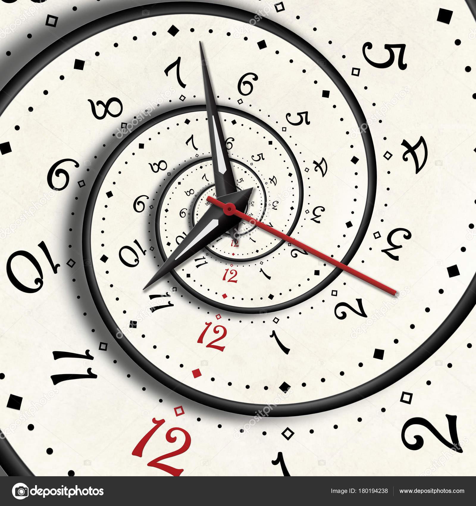 Abstract Modern White Spiral Clock Fractal Clock Hands
