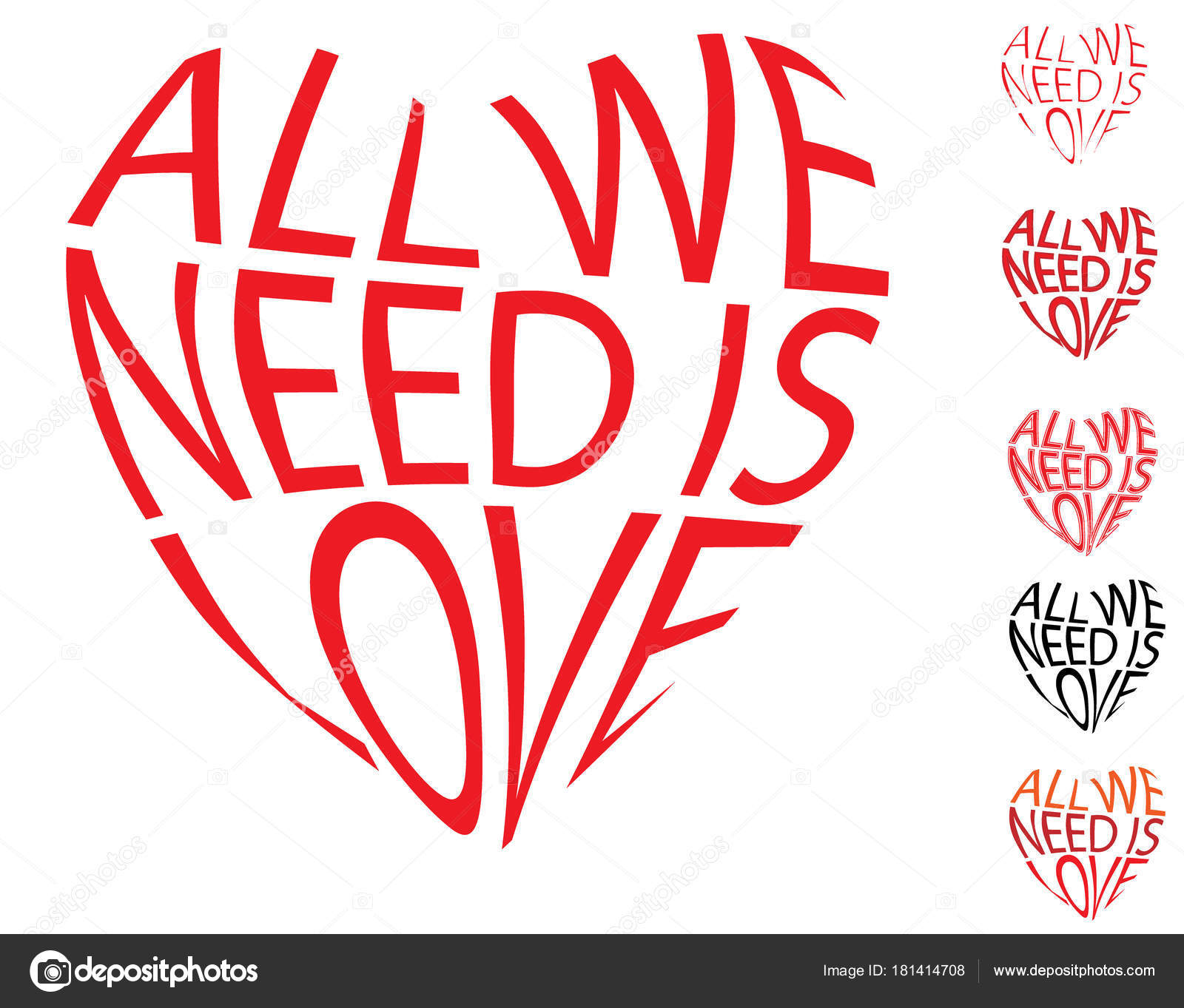 Vector Red Text Heart Shape All Need Love Envelope Distort Stock