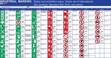 Set of vector safety signs prohibition signs buildings applications. ISO 7010 standard vector safety symbols. Vector graphic safety symbols signs marks Emergency exit fire extinguisher door ladder